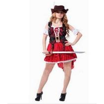Fantasia Feminina Pirata Combate Chapéu Importada Arrase