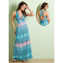 Vestido Longo Estampado Colorido Verão Casual - Frete Gratis