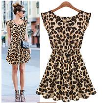 Vestido Casual Chiffon Importado Onça Leopardo