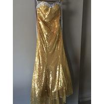Vestido Dolce D&g Sereia Dourado Pedraria Festa Longo 38