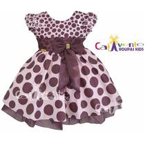 Vestido De Festa Infantil Tema Rosa E Marrom Com Tiara