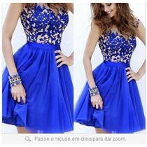 Vestido De Festa Azul Marinho-royal Importado Frete Grátis