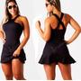 Vestido Feminino Curto Peplum Babado Panicat S/renda Verão