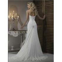 Vestido De Noiva Cintura Império Aplique Pérolas