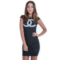 Vestido De Bandagem Com Brilho - Kam Bess - 021557