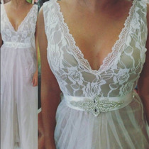 Vestido Noiva Civil Festa Bege Nude Renda Pronta Entrega