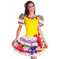 Vestido Festa Junina Adulto Caipira Angelina Tam 38 Ao 42