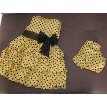 Vestido Amarelo Bolas Preta Balone Abelinha