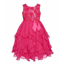 Vestido Infantil Menina Paetê Rosa Azul Lindo Pronta Entrega