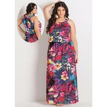 Vestido Longo Plus Size Estampado Colorido Festas Casamentos