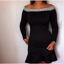 Vestido Curto Preto Com Aplicação De Pérolas