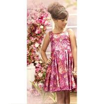 Vestido Cetim Sublimação Floral Pink - Pakita