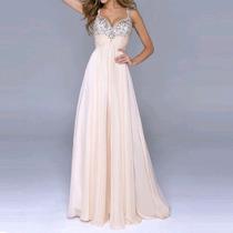 Vestido De Chiffon Longo - Rosa + Prata Com Lantejoulas