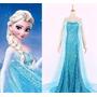 Vestido Fantasia Adulto Frozen Elza Azul Com Calda