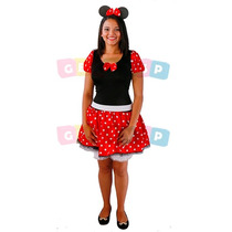 Vestido Da Minnie Adulto C/ Shortinho Cinto E Tiara Fantasia