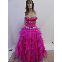 Vestido 15 Anos Roxo, Saia Longa De Babados, Bordado À Mão