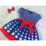 Vestido Azul Bolas Branca Galinha Pintadinaha