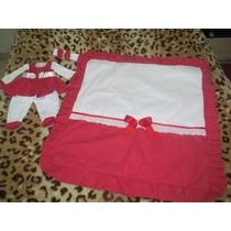 Saída De Maternidade Vermelho Com Branco