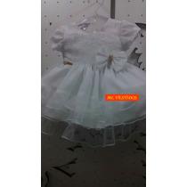 Vestido Infantil De Batizado Cor Branca C/ Laço - Tam P/ G