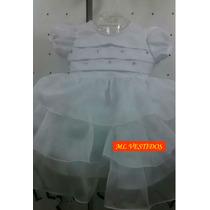 Vestido Infantil De Batizado Nelu Voil - Tam. P/ G