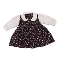 Vestido Para Bebê Em Veludo Florido Loving Little Bear