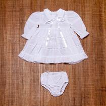 Roupa Bebe Menina Para Batizado Mangas Compridas Rn