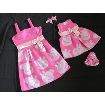 Vestido Mae E Filha Peppa Pig Rosa