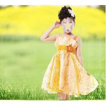 Vestido Princesa Alaranjad Bebe Menina Casamento Aniversario