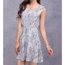 Vestido Chiffon Dress Plaid Skirt Moda Verão 2014 50% Off