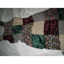 Vestido Crepe De Seda Estampa Patchwork Tamanho M