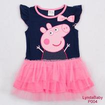 Peppa Pig Vestido Infantil Azul Tutu - Pronta Entrega