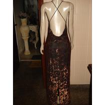 Vestido De Festa Estampa Bronze C/ Marrom Tam P
