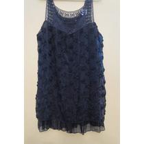Vestido Casual Festa Chifon Preto Pala Rendada Crochet