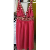 Vestido Festa Pink Escuro Bordados Pedrarias Curto