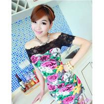 Vestido Malha Estampa Floral Com Renda Preta
