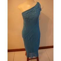 Fernanda Chies Lindo Vestido De Festa Azul Tam. 40 Bordado