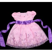 Vestido Infantil Festa/ Princesa Bordado Rosa E Lilas