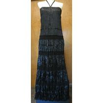 Magnífico Vestido Longo Cetim E Renda - Novo C/ Etiqueta