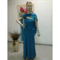 Vestido De Madrinha Em Crepe Georgette Azul M105