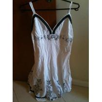 Vestido Branco Com Detalhes E Preto, Saia Godê, Tam. 40/42