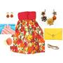 Vestido Cintura Alta Pala Vermelha Estampa Floral Colorida