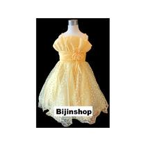 Vestido Infantil Princesa Bela Corações Amarelo - Tam 3