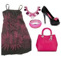 Vestido Preto Devoree Com Forro Rosa Pink Tam Grande