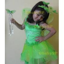 Vestido Fantasia Fadinha Princesa Sininho - Com Asinha