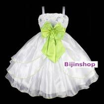 Vestido Infantil Princesa/dama Branco C/ Pink,verde Ou Vinho