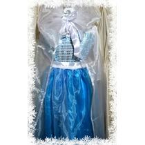 Vestido Festa Frozen Elsa... Com Capa De Princesa!!