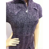 Vestido Em Lã Grossa Com Elastano E Cinto Capuz Minivest !!