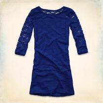 Hollister Vestido De Renda Azul Tamanho G