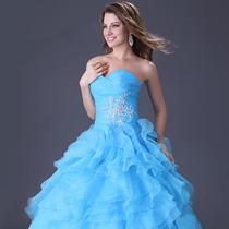 Vestido Azul Céu P/ Festa Formatura Debutante Pronta Entrega