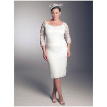 Vestido De Noiva Midi Plus Size De Renda Em Tamanhos Grandes